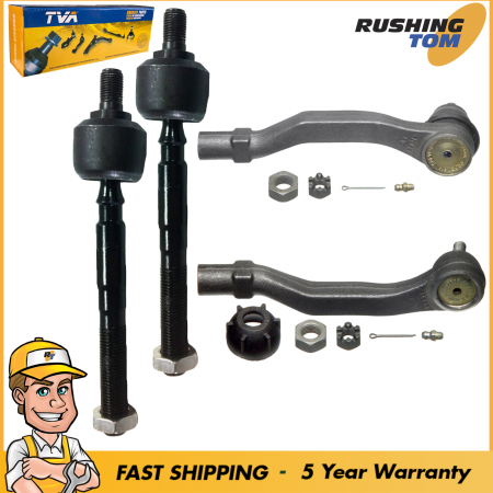 4 Tie Rod Kit Inner Outer for Honda Civic EX DX LX Si Rt CRX HF 5 Year Warranty