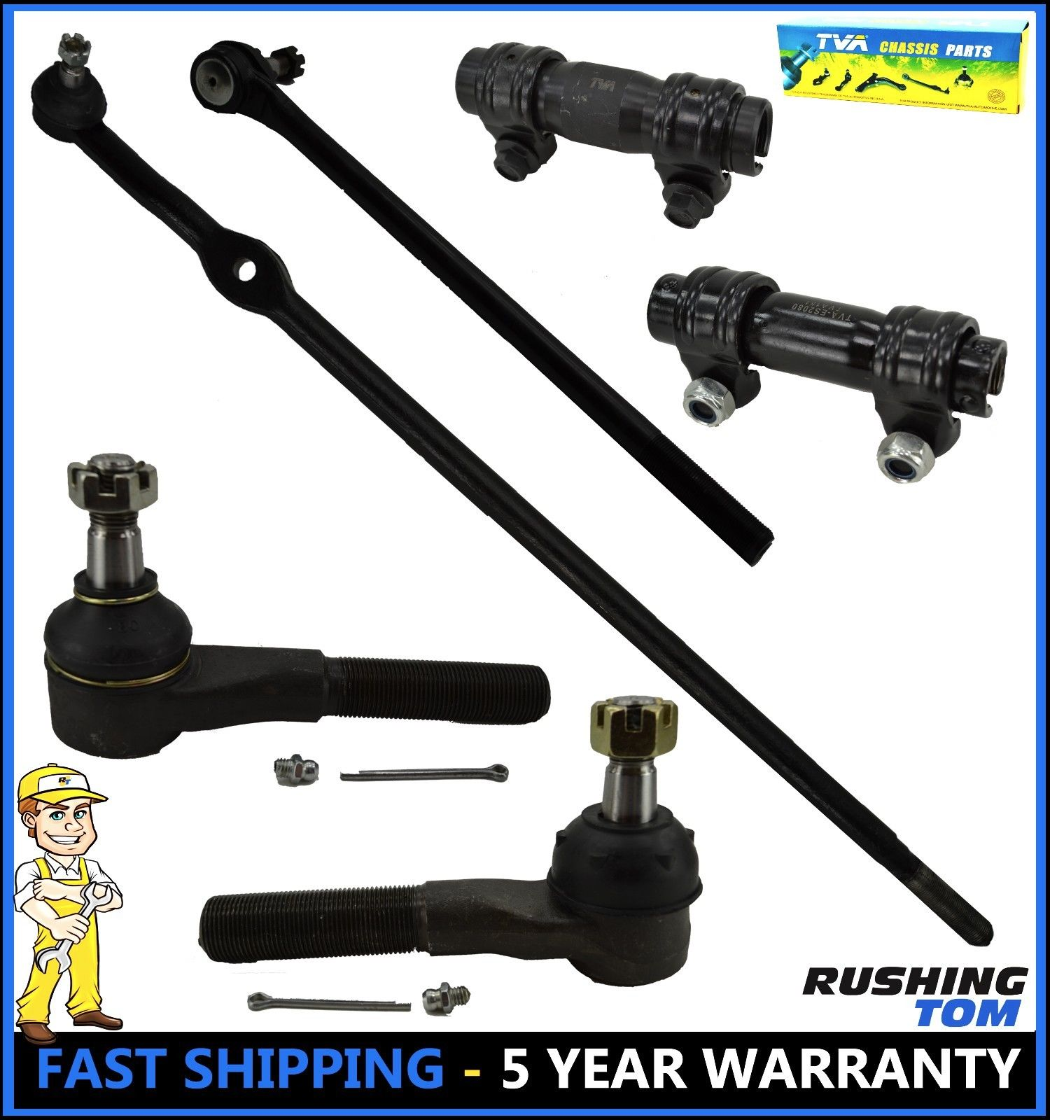 Bronco II 6Pc Outer Tie Rods Drag Links Sleeves